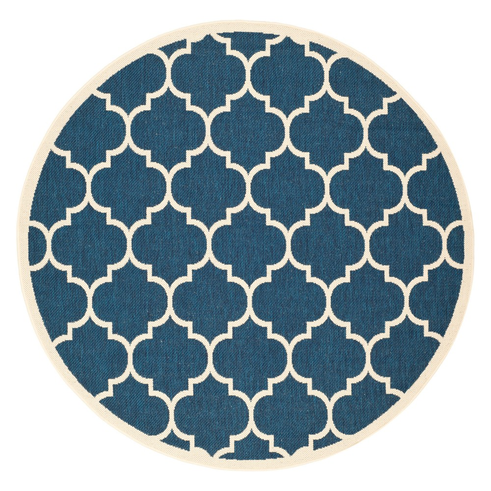 Malaga Round 7'10 Outdoor Patio Rug - Navy / Beige - Safavieh, Blue
