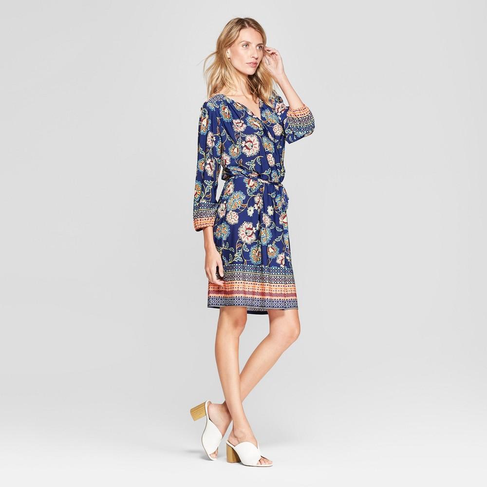 Image of Women's Floral Print Tie Waist Dress - Lux II - Navy/Rust 10, Blue