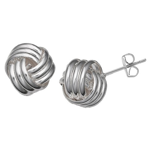 Loveknot Stud Earring in Sterling Silver - Silver (10mm) - image 1 of 1