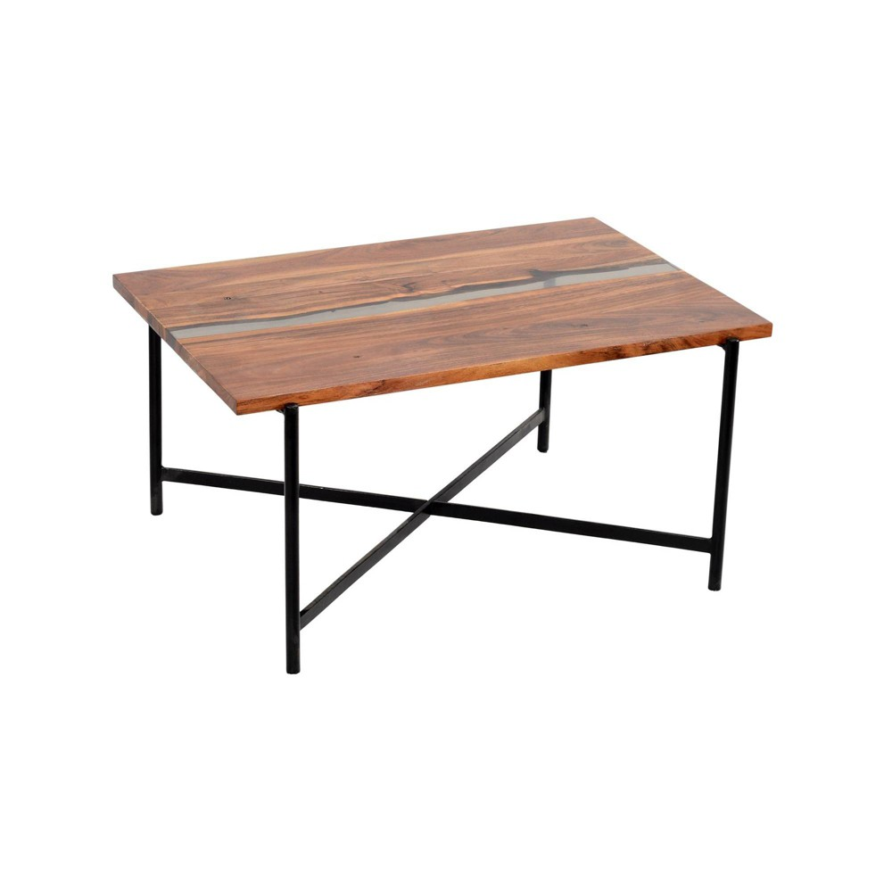 """Image of """"36"""""""" Rivers Edge Acacia Wood and Acrylic Coffee Table Brown - Alaterre Furniture"""""""