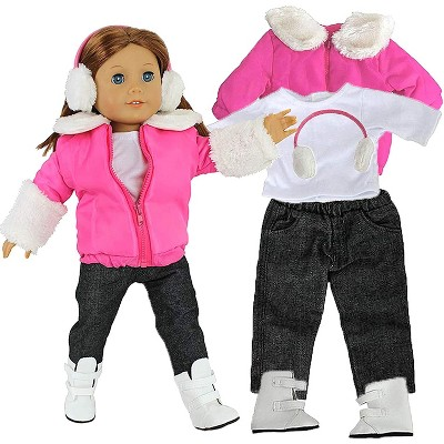 Dress Along Dolly Winter Snow Doll Outfit for American Girl Doll - Pink, 5 Piece