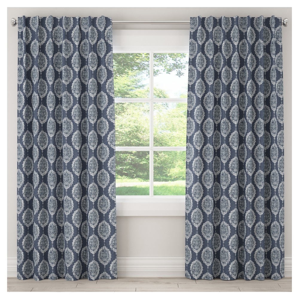 Unlined Damask Curtain Panel Blue (50