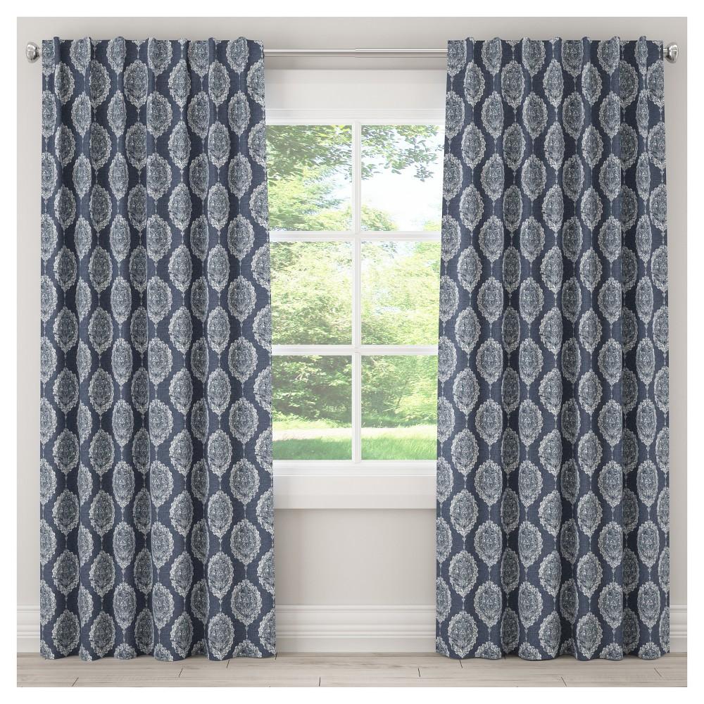 Unlined Damask Curtain Panel Blue (50x96) - Skyline Furniture