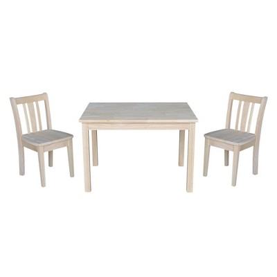 Kids' Table with 2 San Remo Juvenile Chairs Unfinished - International Concepts