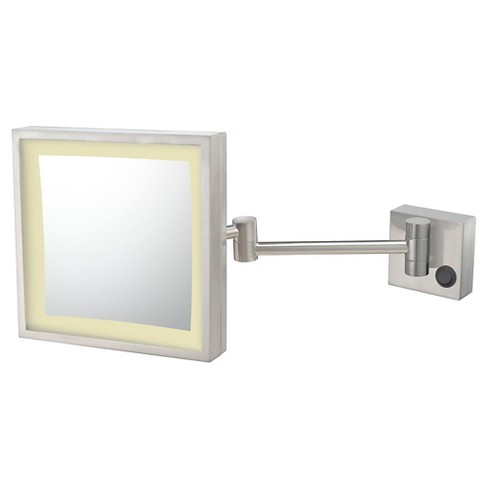 Square Single-Sided LED Lighted Hardwired Wall Magnified Makeup Bathroom Mirror Brushed Nickel - Aptations - image 1 of 1