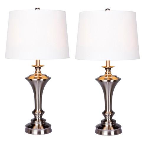 Pedestal Base Metal Table Lamps Steel/White  - Fangio Lighting - image 1 of 2