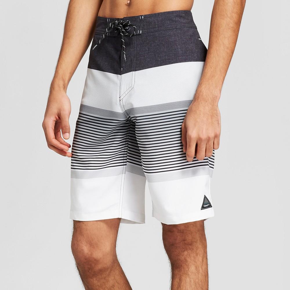 Men's Striped 10 Quattro Board Shorts - Trinity Black 38