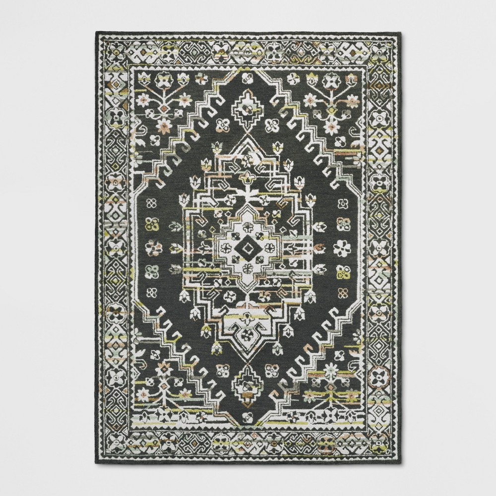 7'X10' Hooked Area Rug Tribal Design - Threshold, Charcoal Heather