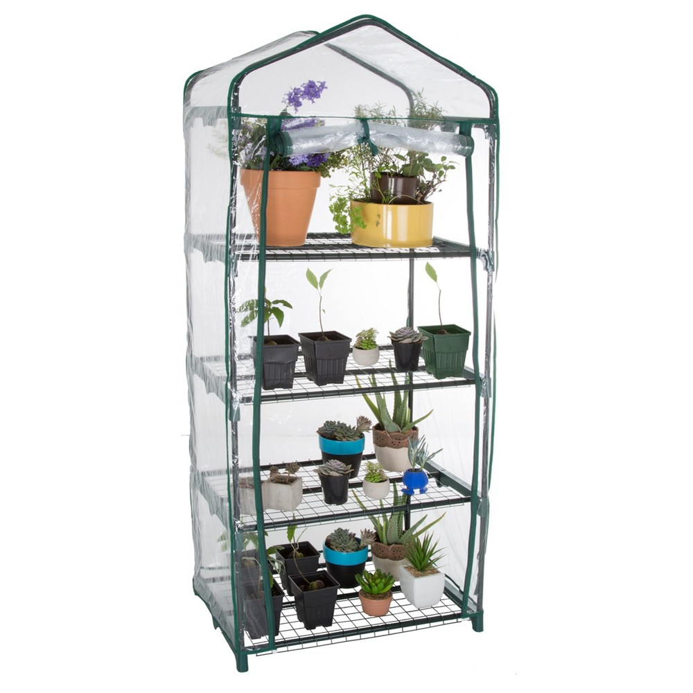 "Image of ""4 Tier Mini Greenhouse With Cover - 27.5""""x 19"""" x 63"""" - Green - Pure Garden"""