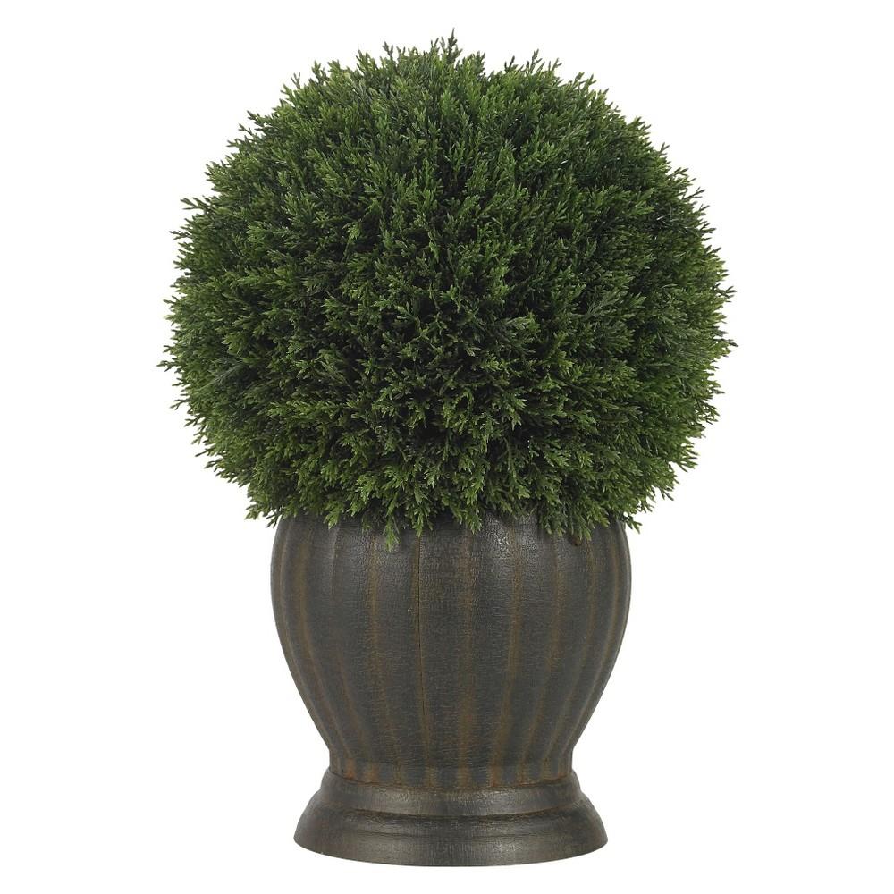Nearly Natural Cedar Ball Topiary Silk Plant, Bttle Grn/Brwn