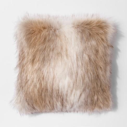 faux fur throw pillow Coyote Faux Fur Throw Pillow (18