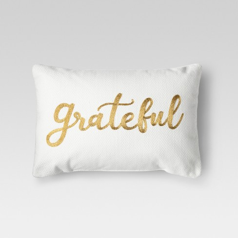 "Cream ""Grateful"" Lumbar Pillow - Threshold™ - image 1 of 1"