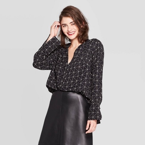 Women's Relaxed Fit Long Sleeve V-Neck Tunic - A New Day™ Black - image 1 of 3