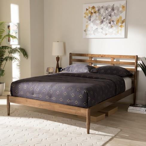 . Opal Mid   Century Modern Solid Wood Slatted Headboard Platform Bed   Full    Brown   Baxton Studio
