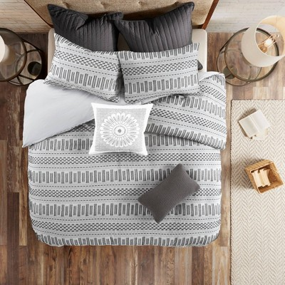 3pc Rhea Cotton Comforter Mini Set Ivory/Charcoal
