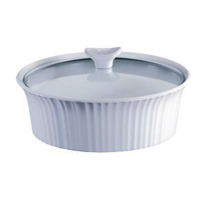 CorningWare French White 2.5qt Round Ceramic Casserole with Glass Cover