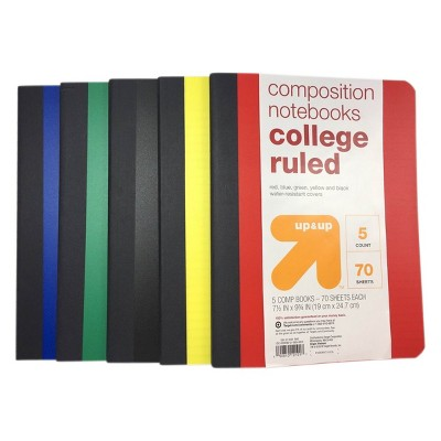 5pk College Ruled Solid Composition Notebooks - up & up™