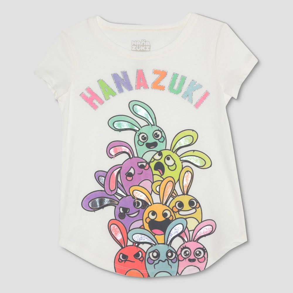 Girls' Hanazuki Bunny Pile Graphic Short Sleeve T-Shirt - Ivory XL, White