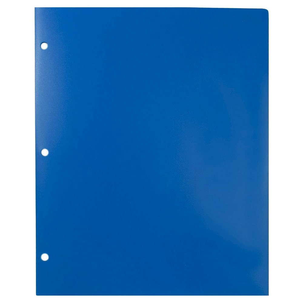 Jam Paper, Heavy Duty 3 Hole Punch Folders, 6pk - Blue