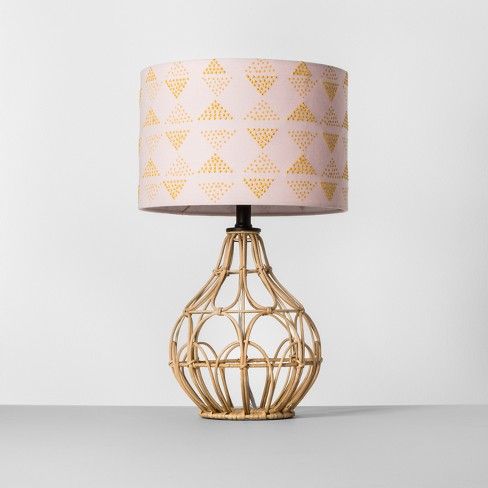 Rattan Table Lamp Pink Shade - Opalhouse™ - image 1 of 3