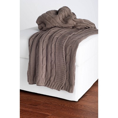 Mocha Cable Knit Throw - Rizzy Home