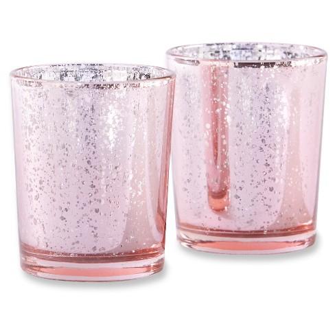 2edcfd500cd7 12ct Mercury Glass Tealight Holder Light Pink - Kate Aspen®   Target
