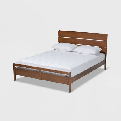 Queen Avena Wood Platform Bed Walnut - Baxton Studio