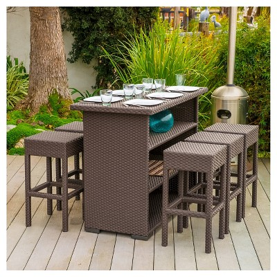 Milton 7pc Wicker Patio Bar Set   Brown   Christopher Knight Home