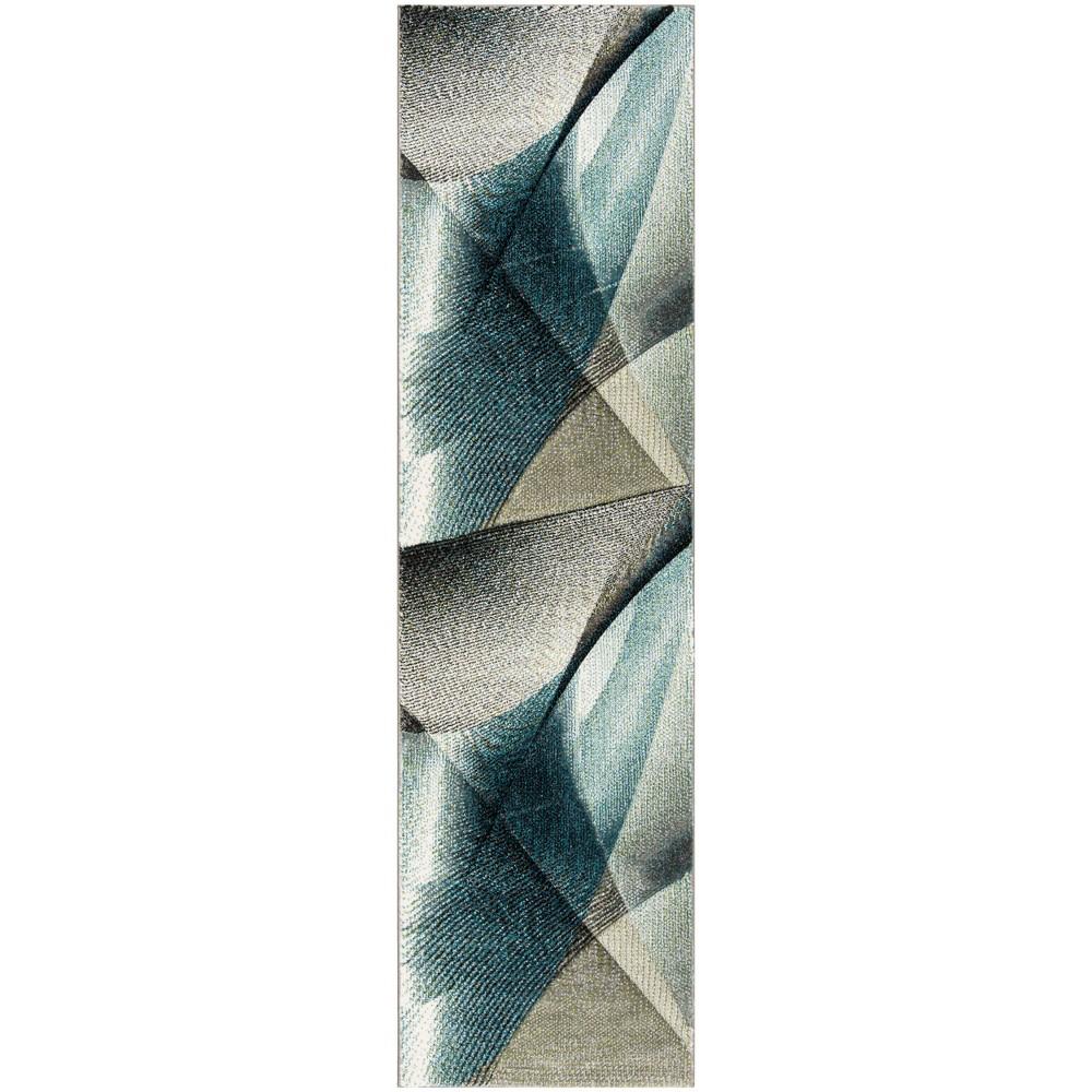 22X6 Geometric Loomed Runner Gray/Teal - Safavieh Promos