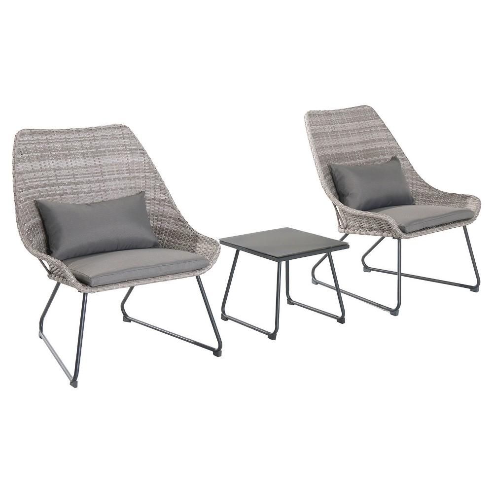 3pc Wicker Chat Set - Gray - Hanover