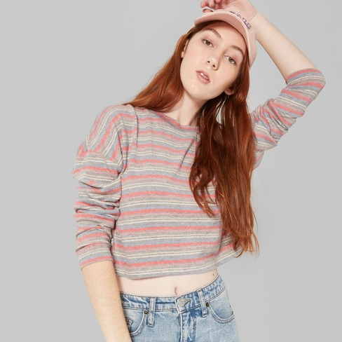 6f2c1b23 Women's Striped Long Sleeve Crewneck Boxy Hacci Cropped Top - Wild Fable™  Pink