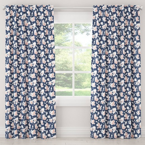 Unlined Silhouette Floral Light Filtering Curtain Panel Navy/Blush - Cloth & Co. - image 1 of 5