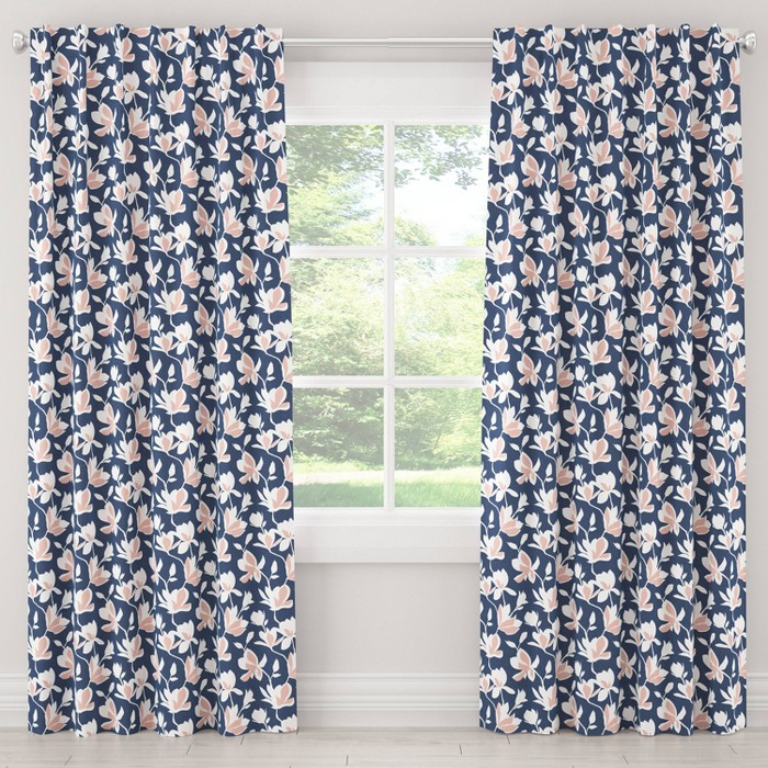 Blackout Silhouette Floral Curtain Panel Navy/Blush - Cloth & Co. - image 1 of 6