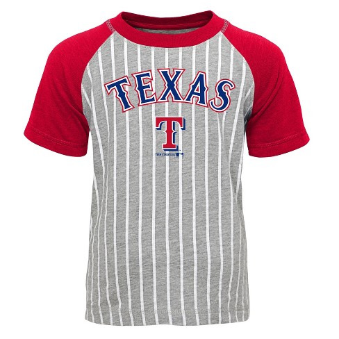 info for c6e78 5c3e6 Texas Rangers Boys' Short Sleeve Raglan Pinstriped Crew Neck T-Shirt - Gray  L