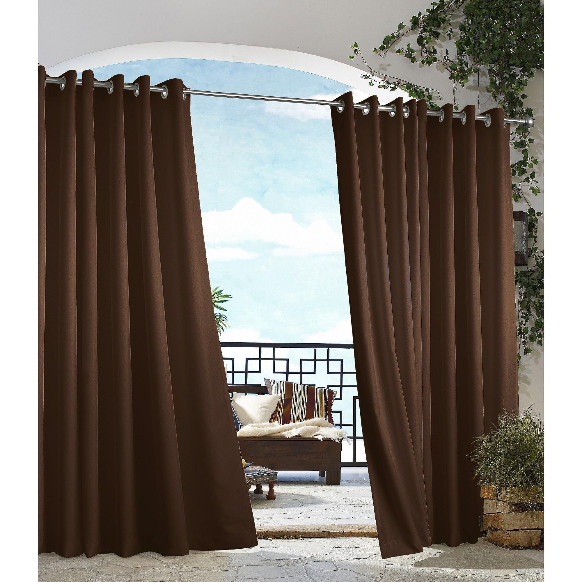 'Outdoor Décor Gazebo Solid Indoor/Outdoor Grommet Top Curtain Panel - Chocolate (50''x84''), Size: 50x84'', Brown'