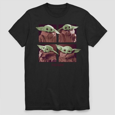 Men's Star Wars The Mandalorian Child Short Sleeve Graphic Crewneck T-Shirt - Black