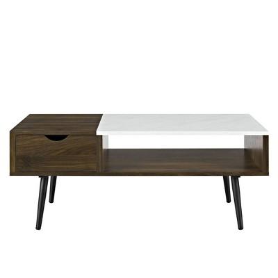 Tapered Leg Mid Century Modern Storage Coffee Table Dark Walnut - Saracina Home