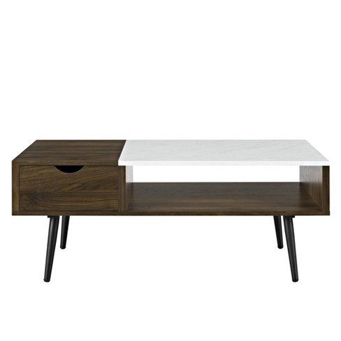 Tapered Leg Mid Century Modern Storage Coffee Table Saracina Home Target