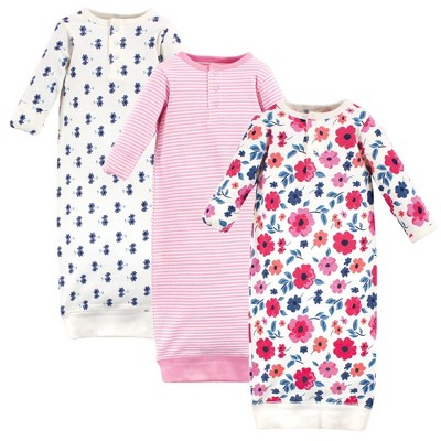 Touched by Nature Baby Girl Organic Cotton Henley Long-Sleeve Gowns 3pk, Garden Floral