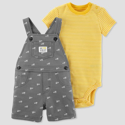 Baby Boys' 2pc Construction Shortall Set - Just One You® made by carter's Gray/Yellow 3M