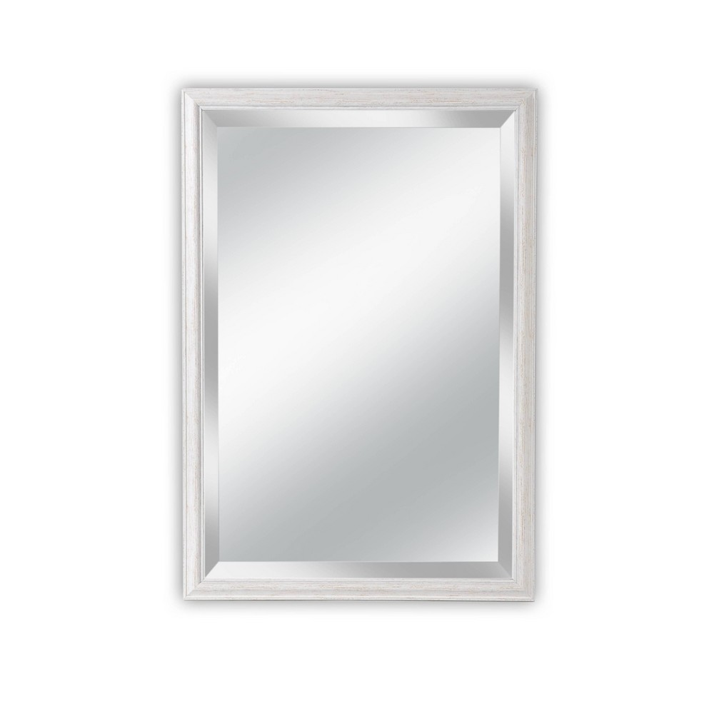 27 X 39 Savannah Brushed White Framed Beveled Glass Wall Mirror Alpine Art And Mirror