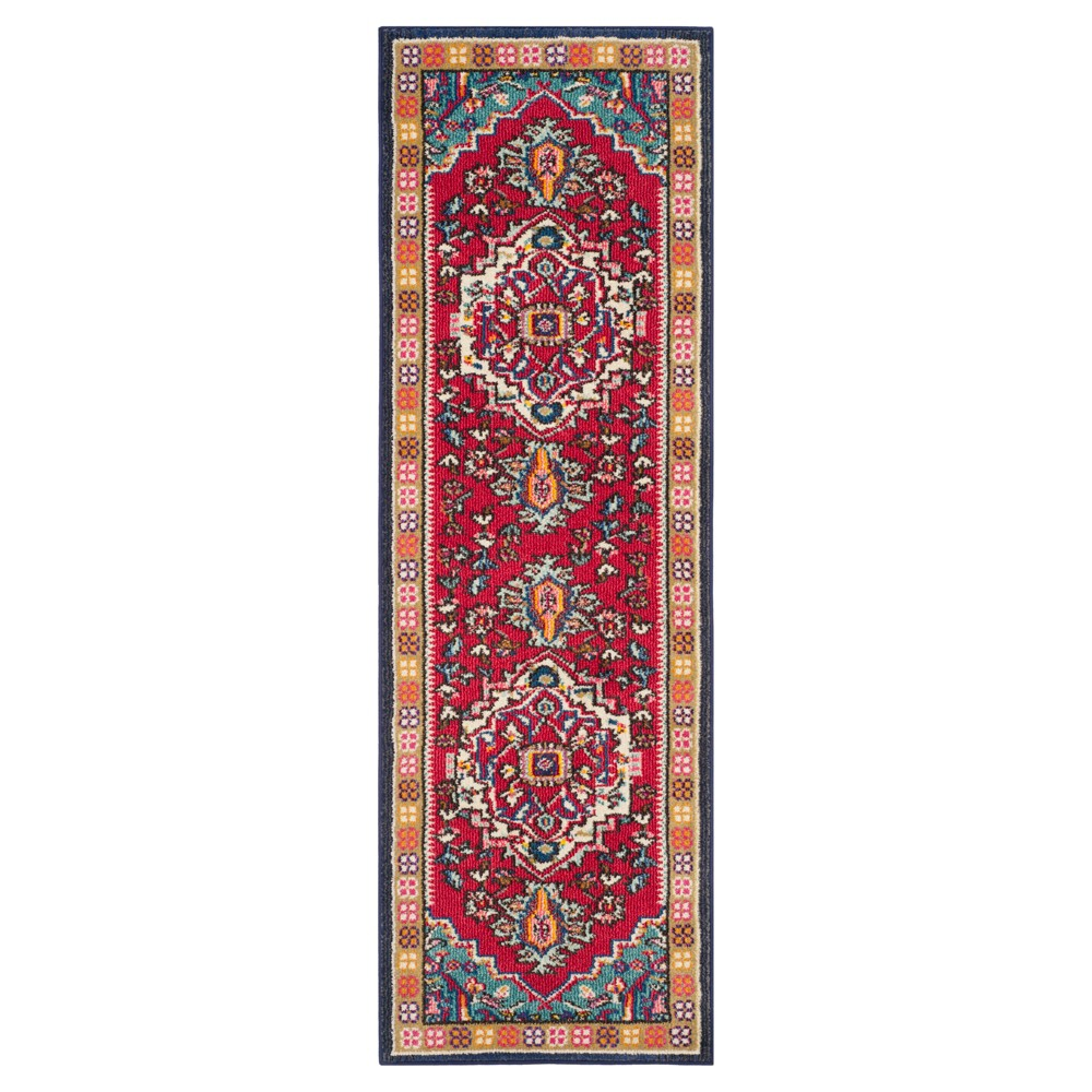"Image of ""Essie Runner - Red/Turquoise (2'2""""x8') - Safavieh"""