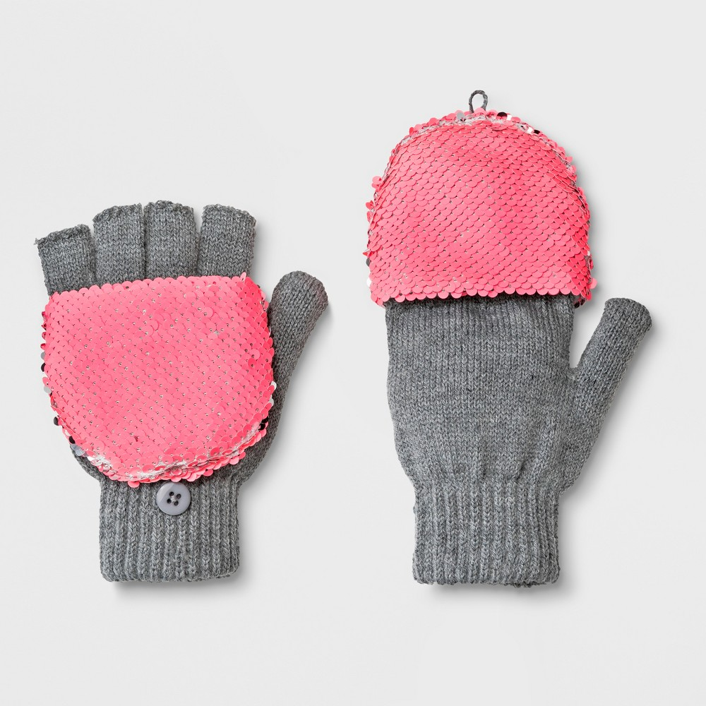 Girls' Flip Sequins Gloves - Cat & Jack Gray One Size