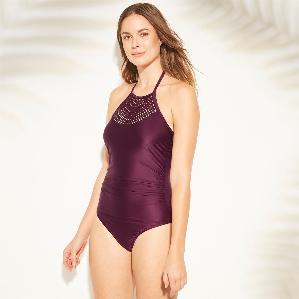 1930s Syle Bathing Suits Women Laer Cut Halter One Piece wimuit - Kona ol8482 Atlantic $34.99 AT vintagedancer.com