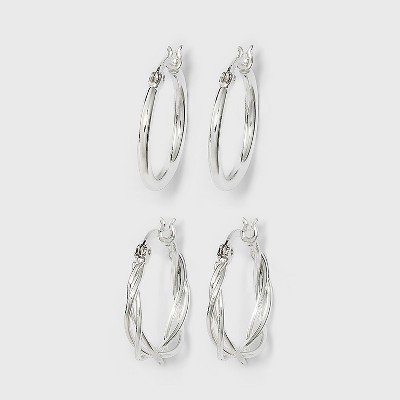 Silver Plated Braided and Polished Hoop Earring Set - A New Day™ Silver