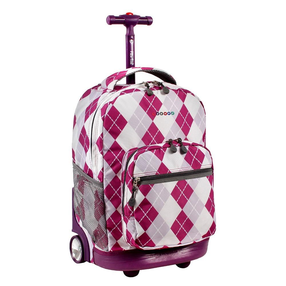 J World 18 Sunrise Rolling Backpack - Argyle Purple