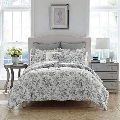 Full/Queen Gray Annalise Comforter Set - Laura Ashley