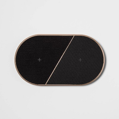 heyday™ Qi 10W 2 Pad Wireless Charger - Black/Gold