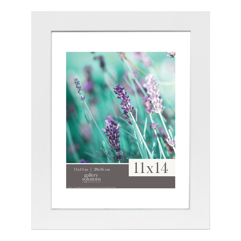 Image of Single Image 11X14 Float To 8X10 Wide White Frame - Gallery Solutions