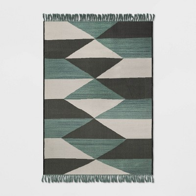 Diamond Fringed Outdoor Rug Gray/Teal - Project 62™